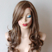 Spring  Special //  Brown / Dirty blonde/ Ash blonde mixed color wig. Long curly dirty blonde wig, High quality Heat resistant synthetic wig