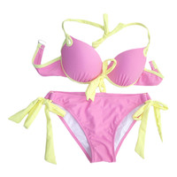 ROMWE Color Block Self-tied Halter Bikini