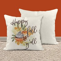 """Happy Fall Yall Pillow Cover Fall Throw Pillow Case Watercolor Pumpkin Home Decor Latte Square Pumpkin Spice 15"""" Square"""