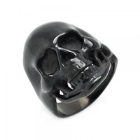 AMAZING SKULL IN 925 STERLING SILVER RING FOR HER  IN BLACK RHODIUM PLATED
