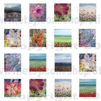 """0.75"""" x 0.83"""" tiles digital collage sheet instant download fabric art by Jackie Chadwick"""