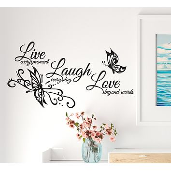 Wall Decal Butterfly Love Live Laugh Inspiring Interior Vinyl Decor Black 34 in x 17.5 in gz529