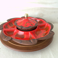 Ceramic Serving Tray, Vintage California Pottery Red Divided Serving Dish, Treasure Craft Lazy Susan