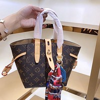 LV Louis Vuitton canvas women's shopping bag handbag two-piece bag