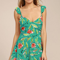 Guaranteed Glee Green Floral Print Backless Skater Dress