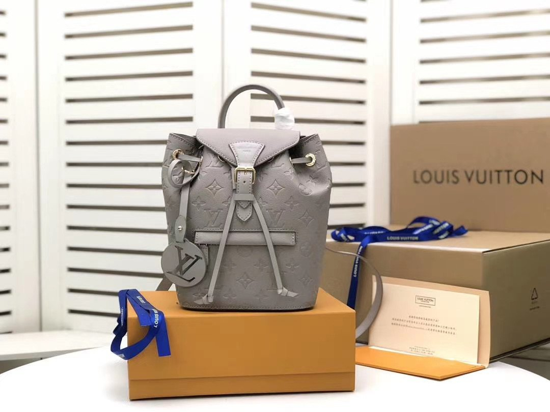 Image of LV Louis Vuitton MONOGRAM LEATHER SMALL Montsouris BACKPACK BAG