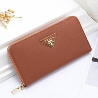 Prada New fashion solid color clutch wallet leather purse