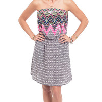 Over The Borderline Printed Strapless Dress