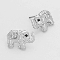 Elephant Stud Earrings Silver