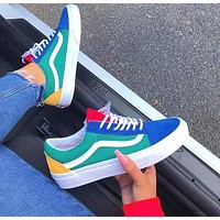 Vans Old Skool Classics Sneaker Green Blue Yellow Red Contrast Flat Shoes