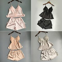 pajamas sets summer style Women Female Sleep sets Deep V-neck Sexy Spaghetti Strap Shorts Sleepwear satin silk home wear