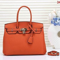 Hermes new fashion ladies simple casual top layer leather lychee pattern shoulder bag Orange