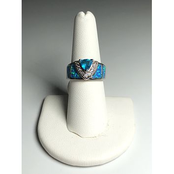 Luck Drawing Blue Fire Opal Blue Topaz Sterling Silver Ring