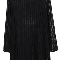 Black Round Neck Long Sleeve Loose Knit Dress - Sheinside.com