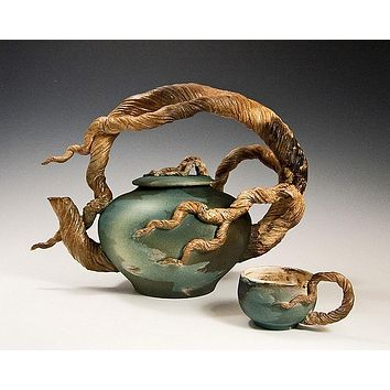 Arching Branch Teapot with 2 cups Ceramic Artwork by Bonnie Belt
