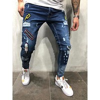 3 Style Men Ripped Skinny Biker Jeans Destroyed Frayed Print Embroidery Slim Fit Denim Pant Jean