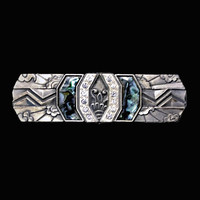 Duri Art Deco Revival Brooch Pin, Abalone And Clear Rhinestones Set In Pewter