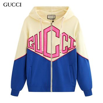 GUCCI new best-selling fashion letter LOGO colorblock zipper cardigan coat