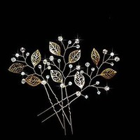 Bridal Crystals Gold Leaves Hair Vine Pins Comb Headpiece Wedding Prom
