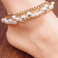 Gorgeous Multi-size Faux Pearl Multi Layer Anklet For Women