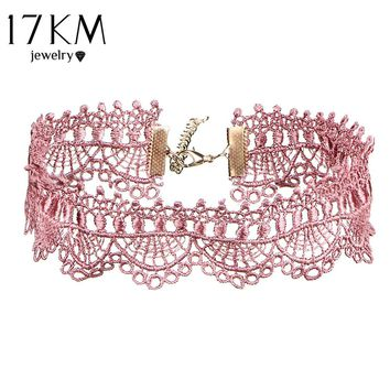 17KM 5 Colors Wide White Black Sexy Lace Choker Necklace for Women Fashion Jewelry Gifts Bib Collar Steampunk Necklaces