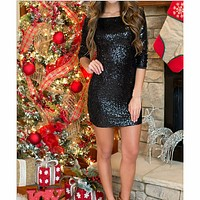 Fashion long-sleeved sequined bodycon dress