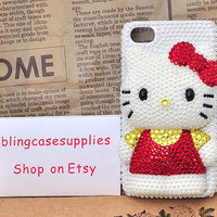 White pearls  red bow hello kitty crystal rhinetones hand made cell phone case for iphone 4 bling case for iphone 4s