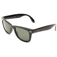 Ray-Ban Folding Wayfarer Sunglasses Black Frame Crystal Green Polarized G15 Classic Lenses