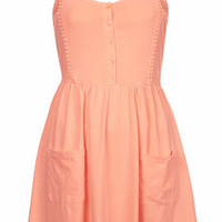 PETITE Lace Strappy Jersey Dress - Coral