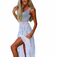 Women's Awesome Summer Bohemian Heather Grey Tank with Lace Skirt Long Maxi Dress