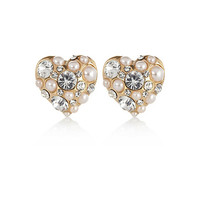 River Island Womens Gold tone pearl and rhinestone stud earrings
