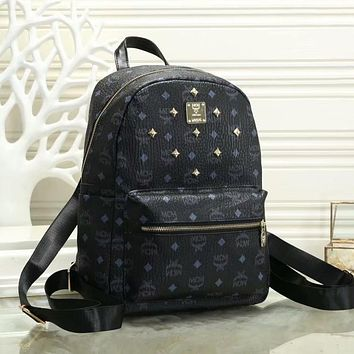 MCM classic full printed letters willow nails ladies shopping backpack school bag 1