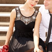 Dress with Illusion Bodice and Soft Skirt