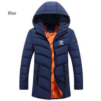 NIKE winter new trend thickening down cotton jacket casual warm cardigan blue