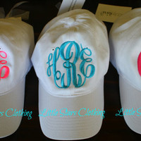 MONOGRAMMED Hat Available in Khaki, Navy, Black, White, Red & Pink