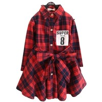 Flannel Print Flare Kids Long sleeve dress With Belt