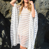 White Crochet Chain Caftan Dress