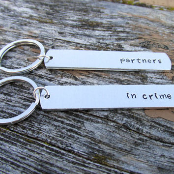 Partners in Crime, Keychains for Couples or Best Friends, Hand Stamped Aluminum Key Chains
