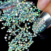 1000pcs 3D AB Color Nail Art Rhinestones SS6 2mm Holographic Rainbow Chameleon Amazing Beads for Nail Art DIY Deco N22