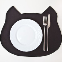 Placemat black Cat, Fabric placemat