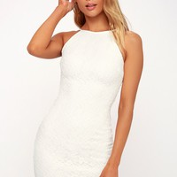 Lover's Way White Lace Bodycon Dress