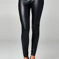 Pleather Fitted Legging, Black
