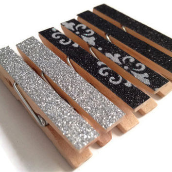 Mini Clothespin Magnets Black and Silver Sparkled Set of 6 Magnet Clips