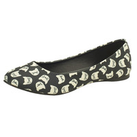 Black & Cream All Over Kitty Flats