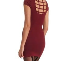 Caged Back Body-Con Dress by Charlotte Russe - Beet Red