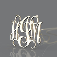 Nameplate necklace plated in gold --3 initial name pendant monogram  necklace customized for sweetheart
