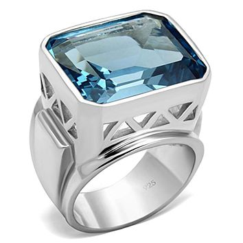 Silver Wedding Rings LOS669 Silver 925 Sterling Silver Ring with Synthetic
