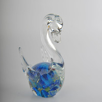 Glass Decoration of  a Clear Swan with Blue Belly Home Decor Murano Art Styled Blown Glass Figurine Colorful Statue