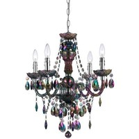AF Lighting Naples 4-Light Metallic Mini Chandelier with Iridescent Smoke Plastic Bead Accents-9001-4H - The Home Depot