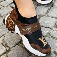 Louis Vuitton Women Shoes Velcro Toes Letters With Shoes Tail Letters Sneakers Coffee Tartan